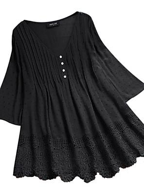 cheap Print Dresses-Women's Blouse Solid Colored Loose Tops Cotton V Neck Wine Black Blue