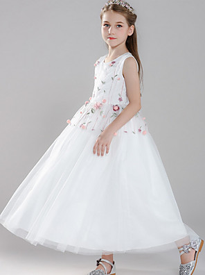 cheap Junior Bridesmaid Dresses-Ball Gown Round Floor Length Tulle Junior Bridesmaid Dress with Embroidery / Appliques