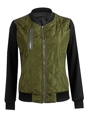 cheap Women's T-shirts-Women's Stand Collar Jacket Regular Color Block Daily Black Wine Green S M L