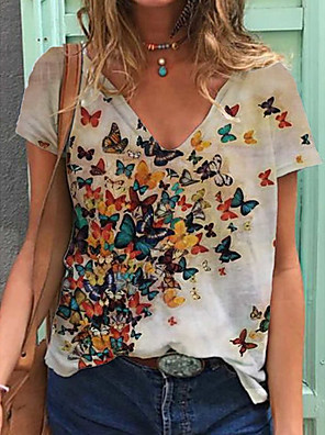 cheap Women's T-shirts-Women's T-shirt Butterfly Print V Neck Tops Loose Cotton Basic Basic Top White