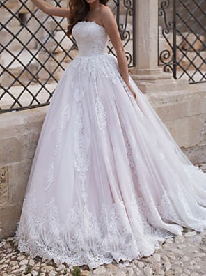 cheap Evening Dresses-A-Line Wedding Dresses Strapless Sweep / Brush Train Lace Tulle Sleeveless Country with Embroidery 2020