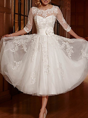 cheap Wedding Dresses-A-Line Wedding Dresses Jewel Neck Ankle Length Lace Tulle 3/4 Length Sleeve Vintage 1950s with Appliques 2020