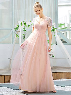 cheap Bridesmaid Dresses-A-Line V Neck Floor Length Tulle / Sequined Bridesmaid Dress with Sequin