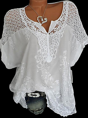 cheap Women's Blouses & Shirts-Women's Plus Size Blouse Solid Colored Lace Floral V Neck Tops Loose Lace Cotton Basic Summer White Black Blue