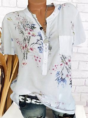cheap Women's Blouses & Shirts-Women's Blouse Floral V Neck Tops Summer White