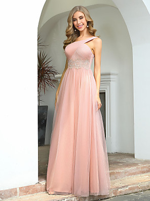 cheap Bridesmaid Dresses-A-Line One Shoulder / Cross Front Floor Length Tulle Bridesmaid Dress with Appliques / Ruching