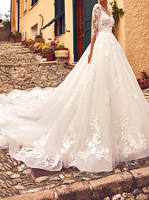 cheap Wedding Dresses-A-Line Wedding Dresses Jewel Neck Sweep / Brush Train Lace Tulle 3/4 Length Sleeve Formal Sexy Illusion Sleeve with Appliques 2020