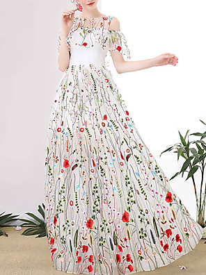 cheap Prom Dresses-A-Line Floral Boho Engagement Prom Dress Jewel Neck Half Sleeve Floor Length Tulle with Appliques 2020