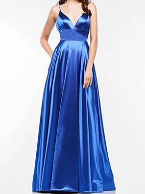 cheap Evening Dresses-A-Line Elegant Minimalist Engagement Formal Evening Dress Spaghetti Strap Sleeveless Sweep / Brush Train Charmeuse with Pleats 2020