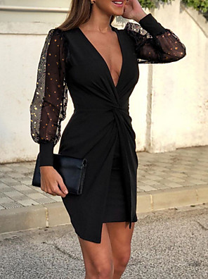 cheap Cocktail Dresses-Sheath / Column Sexy Black Wedding Guest Cocktail Party Dress V Neck Long Sleeve Short / Mini Polyester with Draping Pattern / Print 2020