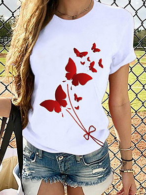 cheap Women's Blouses & Shirts-Women's T-shirt Graphic Print Round Neck Tops Basic Spring Summer White