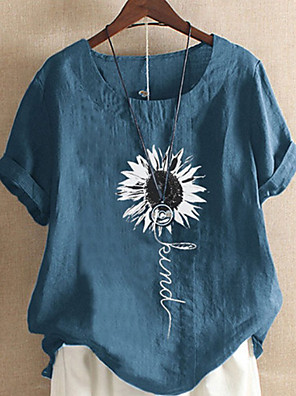 cheap Women's Blouses & Shirts-Women's T-shirt Graphic Round Neck Tops Loose Cotton Summer Black Blue