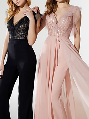 cheap Evening Dresses-Jumpsuits Elegant Sparkle Prom Formal Evening Dress V Neck Short Sleeve Detachable Chiffon Sequined with Sequin 2020