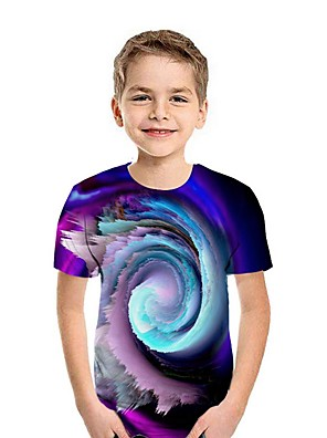cheap Boys' Tops-Kids Boys' Street chic 3D Short Sleeve Tee Purple