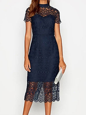 cheap Mother of the Bride Dresses-Sheath / Column Mother of the Bride Dress Elegant & Luxurious Jewel Neck Tea Length Lace Short Sleeve with Lace Appliques 2020