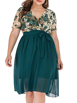 cheap Plus Size Dresses-Women's A-Line Dress Knee Length Dress - Short Sleeves Floral Summer Work 2020 Green XL XXL XXXL XXXXL XXXXXL