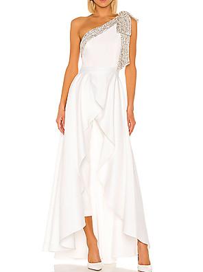 cheap Prom Dresses-Jumpsuits Elegant Minimalist Engagement Prom Dress One Shoulder Sleeveless Floor Length Stretch Satin with Pleats Ruffles 2020