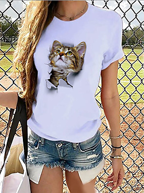 cheap Women's T-shirts-Women's T-shirt Graphic Print Round Neck Tops Basic Spring Summer White