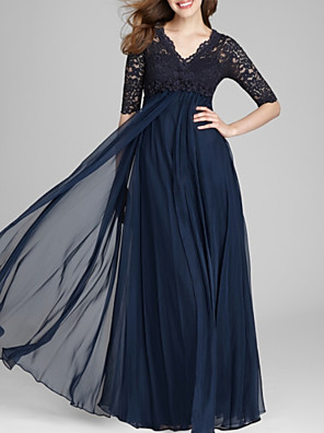 cheap Prom Dresses-A-Line Mother of the Bride Dress Elegant V Neck Floor Length Chiffon Lace Half Sleeve with Pleats Appliques 2020