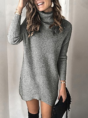 cheap Prom Dresses-Women's Solid Colored Pullover Long Sleeve Sweater Cardigans Turtleneck Khaki Gray