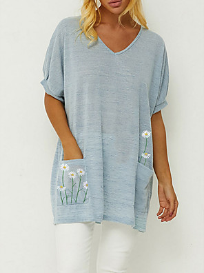 cheap Women's Blouses & Shirts-Women's Blouse Floral V Neck Tops Summer Blue Blushing Pink