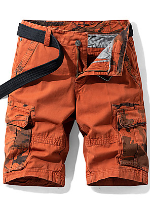 "cheap Hiking Trousers & Shorts-Men's Hiking Shorts Hiking Cargo Shorts Camo Summer Outdoor 10"" Standard Fit Breathable Quick Dry Sweat-wicking Multi-Pocket Cotton Shorts Bottoms Army Green Blue Orange Khaki Camping / Hiking"