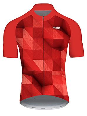 povoljno Biciklističke majice-21Grams Muškarci Kratkih rukava Biciklistička majica Najlon Poliester Crvena Karirano 3D Postupno Bicikl Biciklistička majica Majice Brdski biciklizam biciklom na cesti Prozračnost Quick dry