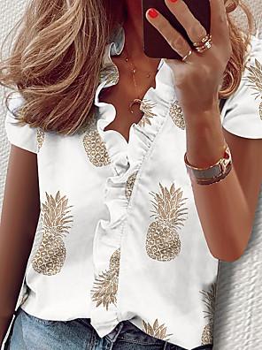 cheap Women's Blouses & Shirts-Women's Shirt Solid Colored Ruffle Print Short Sleeve Tops Elegant V Neck White Black Blushing Pink / Holiday