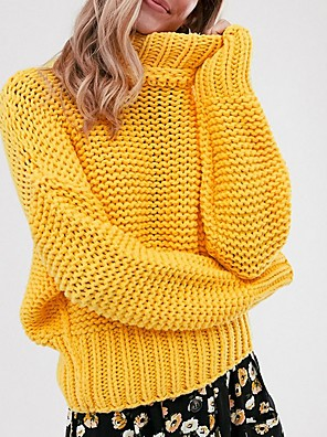 cheap Women's Blouses & Shirts-Women's Solid Colored Pullover Long Sleeve Sweater Cardigans Turtleneck Yellow
