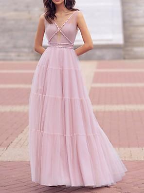 cheap Evening Dresses-A-Line Elegant Minimalist Engagement Prom Dress V Neck Sleeveless Floor Length Tulle with Pleats 2020