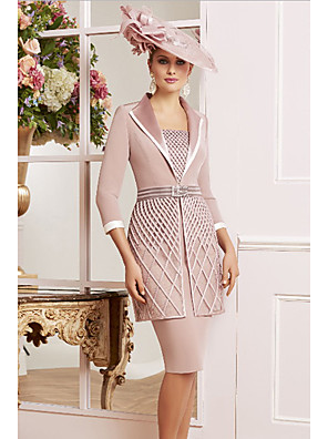 cheap Special Occasion Dresses-Sheath / Column Mother of the Bride Dress Elegant Vintage Plus Size Square Neck Knee Length Lace Satin 3/4 Length Sleeve with Sash / Ribbon Appliques 2020