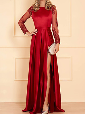 cheap Wedding Dresses-Sheath / Column Minimalist Sexy Engagement Formal Evening Dress Jewel Neck Long Sleeve Floor Length Satin with Pleats Split Embroidery 2020 / Illusion Sleeve
