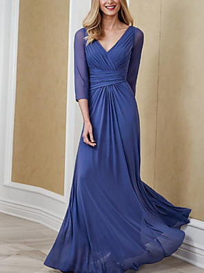 cheap Evening Dresses-Mermaid / Trumpet Mother of the Bride Dress Elegant V Neck Floor Length Chiffon 3/4 Length Sleeve with Pleats 2020