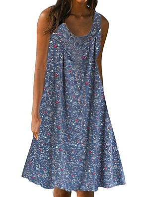 cheap Mini Dresses-Women's A-Line Dress Knee Length Dress - Sleeveless Floral Summer Casual Mumu Loose 2020 Red Dusty Blue Gray M L XL XXL XXXL XXXXL