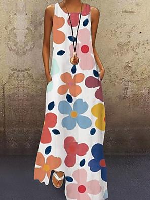 cheap Maxi Dresses-Women's A-Line Dress Sun Flower Maxi long Dress - Sleeveless Floral Print Summer Vacation 2020 Purple Yellow Blushing Pink Light Green Light Blue S M L XL XXL XXXL XXXXL