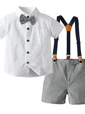 cheap Boys' Clothing Sets-Kids Toddler Boys' Basic Color Block Short Sleeve Clothing Set White