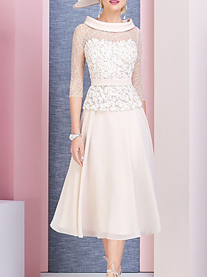 cheap Mother of the Bride Dresses-A-Line Mother of the Bride Dress Elegant Cowl Neck Tea Length Chiffon Lace 3/4 Length Sleeve with Pleats Appliques 2020