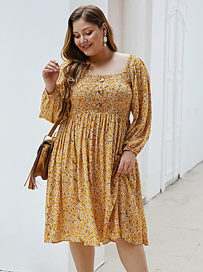 cheap Plus Size Dresses-Women's A-Line Dress Knee Length Dress - Long Sleeve Geometric Summer Casual 2020 Yellow Royal Blue XL XXL XXXL XXXXL