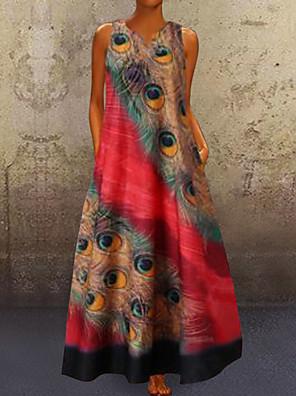 cheap Maxi Dresses-Women's A-Line Dress Maxi long Dress - Sleeveless Peacock Feathers Print Summer V Neck Plus Size Casual Holiday Vacation 2020 Red Navy Blue Light Blue S M L XL XXL XXXL XXXXL XXXXXL