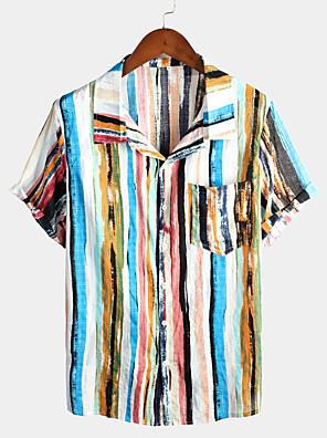 cheap Women's T-shirts-Men's Shirt Rainbow Graffiti Print Tops Tropical Hawaiian Classic Collar Blue Red / Short Sleeve / Beach