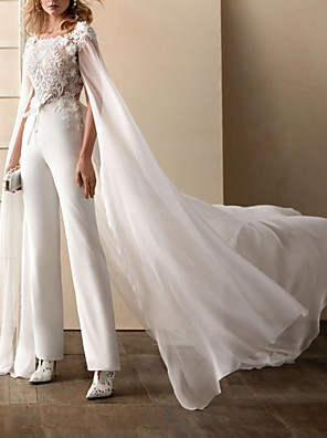 cheap Wedding Dresses-Two Piece Jumpsuits Wedding Dresses Jewel Neck Sweep / Brush Train Chiffon Lace Short Sleeve Simple See-Through Backless Modern with Sashes / Ribbons Embroidery 2020 / Yes