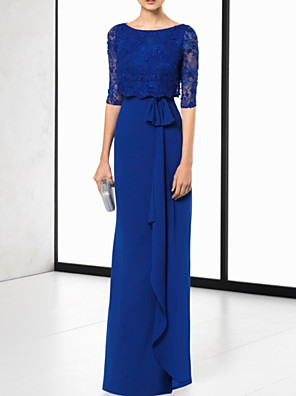cheap Evening Dresses-Sheath / Column Elegant Cut Out Wedding Guest Formal Evening Dress Jewel Neck Half Sleeve Floor Length Chiffon Lace with Sash / Ribbon 2020