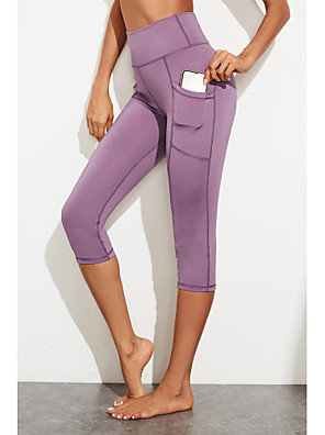 cheap Leggings-Women's Sports / Yoga Sporty / Basic Legging - Solid Colored, Sporty / Stripe High Waist Black Purple S M L