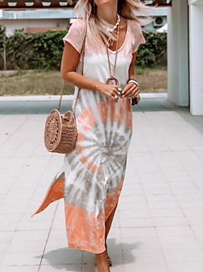 cheap Maxi Dresses-Women's Shift Dress Maxi long Dress - Short Sleeves Tie Dye Summer Casual 2020 Orange S M L XL XXL