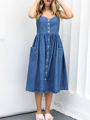 cheap Evening Dresses-Women's Denim Dress Knee Length Dress - Sleeveless Solid Color Summer V Neck Casual Chinoiserie 2020 Blue S M L XL