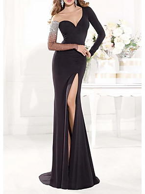 cheap Evening Dresses-Mermaid / Trumpet Elegant Sexy Engagement Formal Evening Dress Illusion Neck Long Sleeve Sweep / Brush Train Spandex with Beading Split 2020