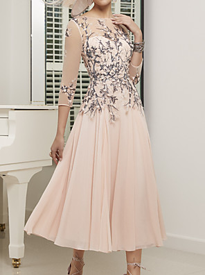 cheap Evening Dresses-A-Line Mother of the Bride Dress Elegant Illusion Neck Jewel Neck Ankle Length Chiffon Lace Tulle 3/4 Length Sleeve with Pleats Appliques 2020