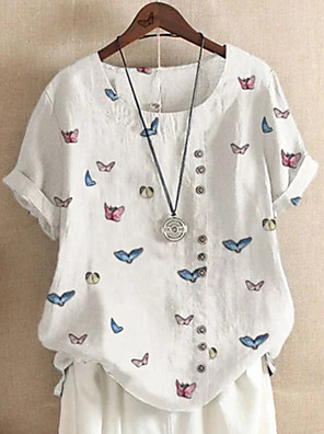 cheap Women's Blouses & Shirts-Women's T-shirt Graphic Round Neck Tops Cotton Summer White