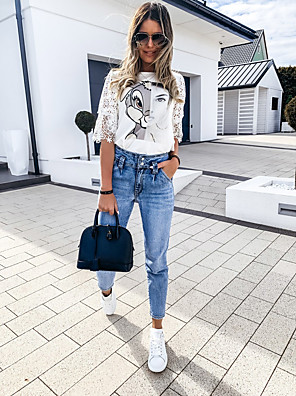 cheap Women's Blouses & Shirts-Women's Blouse Graphic Cut Out Print Round Neck Tops Basic Summer White