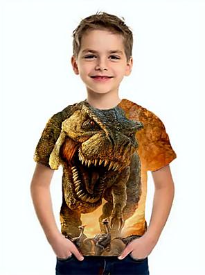 cheap Boys' Tops-Kids Boys' Basic Dinosaur Animal Print Short Sleeve Tee Brown